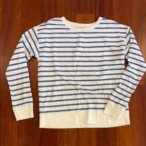 Blue and white striped sweatshirt with pocket
